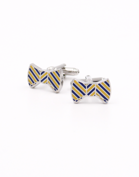 Bowtie yellow & blue Cufflinks
